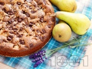 Рецепта Лесен, вкусен и пухкав сладкиш / кекс с круши и шоколад за десерт
